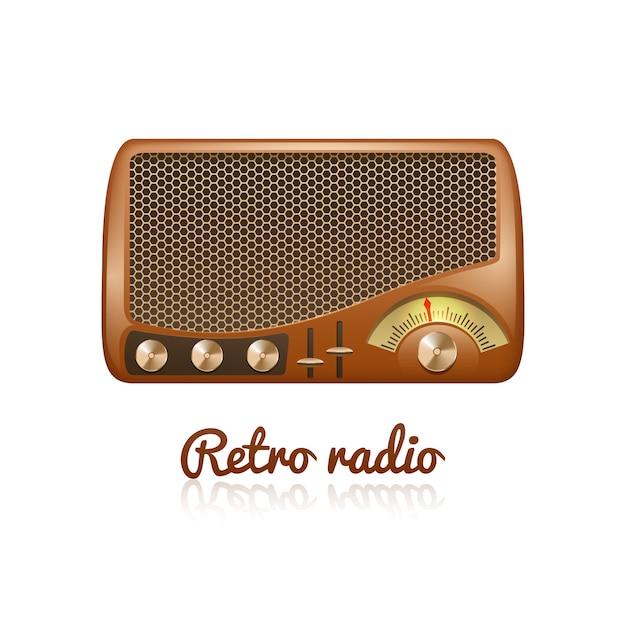 Rádio clássico retrô marrom com alto-falante e sintonizador de som Vetor grátis