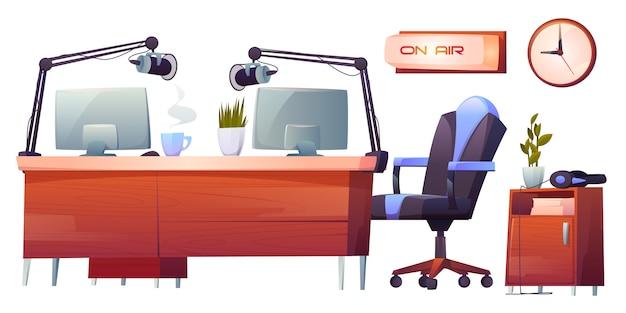 Rádio estação estúdio material interior conjunto, clip-art Vetor grátis