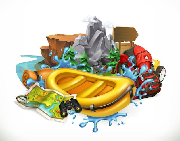 Rafting em corredeiras. camping, ilustração de tempo de aventura Vetor Premium