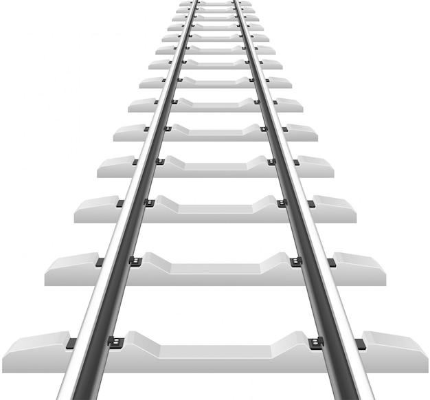 Rails with concrete sleepers vector illustration Vetor Premium