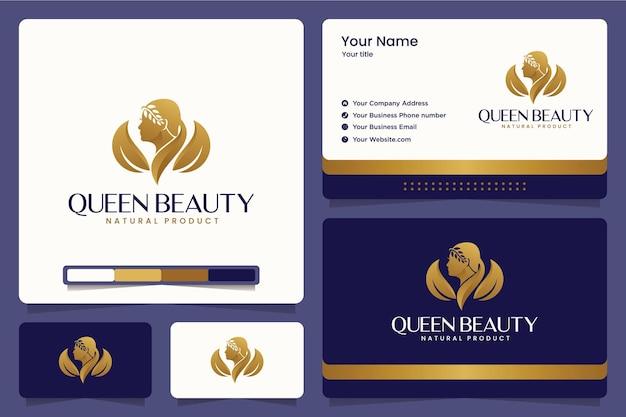 Rainha da beleza, maquiagem, salão, spa, design de logotipo e cartões de visita Vetor Premium