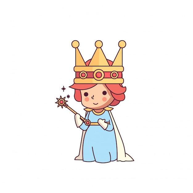 Rainha de conto de fadas de varinha bonito personagem Vetor Premium