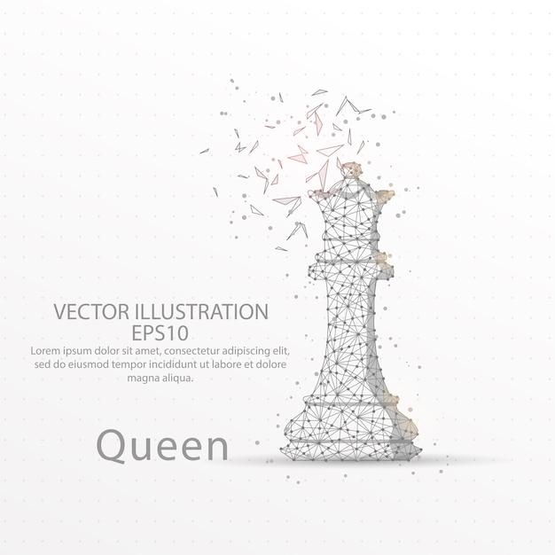 Rainha de xadrez baixa armação de arame poli. Vetor Premium