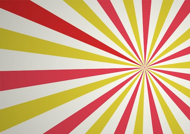 Raio cômico abstrato vermelho e amarelo dos desenhos animados e fundo da luz solar. Vetor Premium