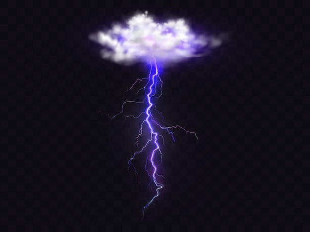 Raio do relâmpago da ilustração da nuvem do temporal. Vetor grátis