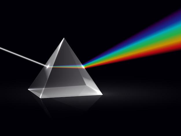 Raios de luz em prisma. efeito óptico da dispersão do espectro do arco-íris em prisma de vidro. física educacional de fundo vector Vetor Premium
