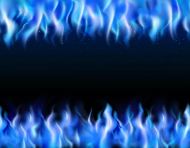 Raios realistas tileable fogo azul sobre fundo preto Vetor grátis