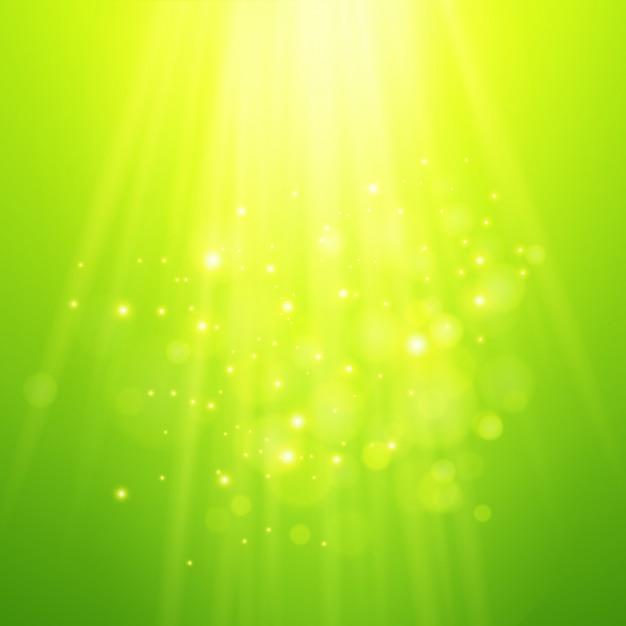 Raios verdes de luz. bokeh de vetor turva fundo Vetor Premium