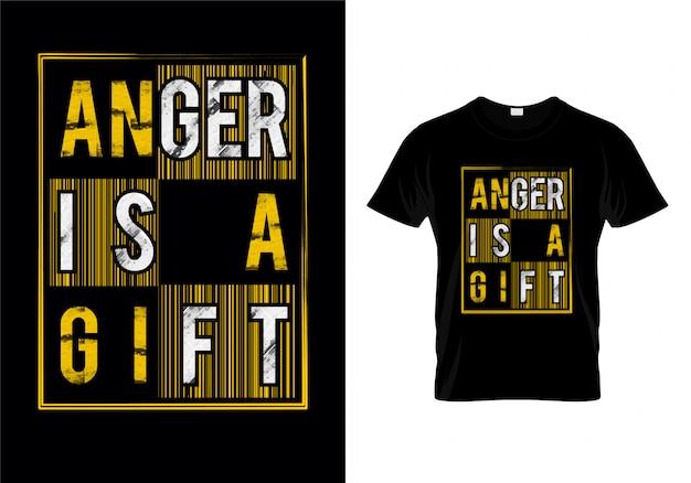 Raiva é um presente tipografia t shirt design vector Vetor Premium