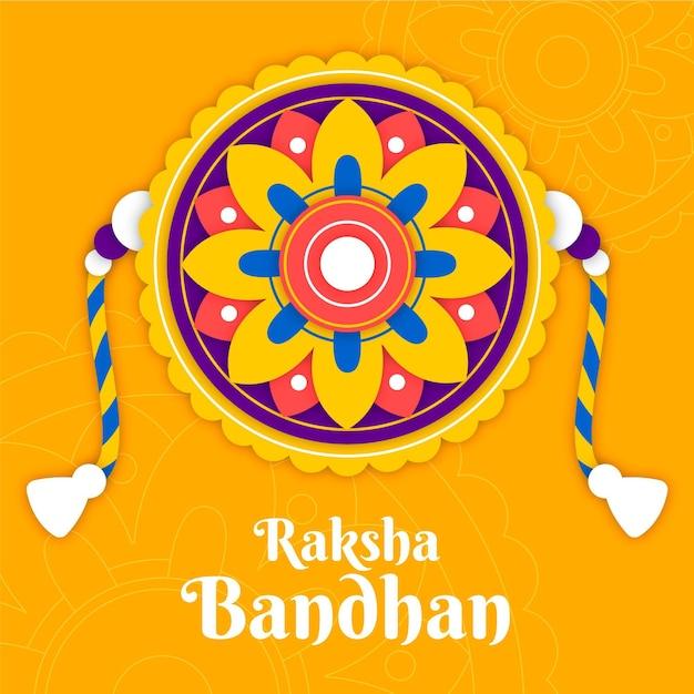 Raksha bandhan com decoração Vetor grátis
