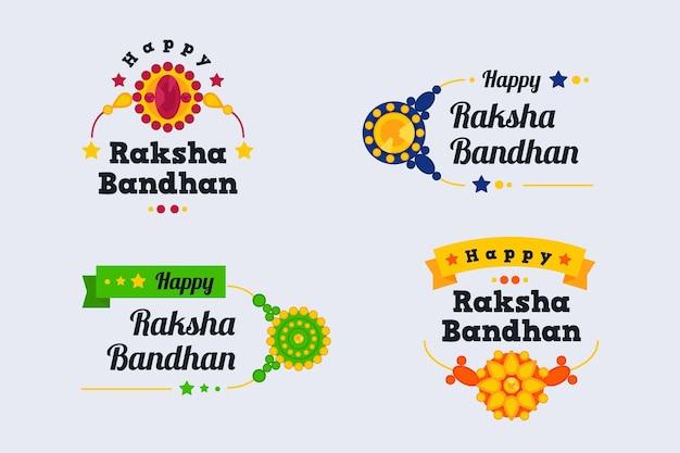 Raksha bandhan emblemas conceito Vetor grátis