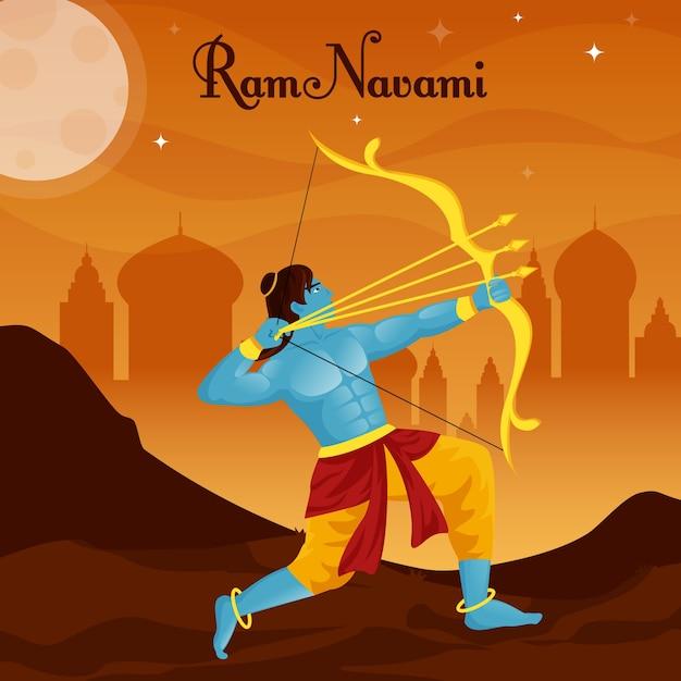 Ram navami com arqueiro masculino Vetor Premium