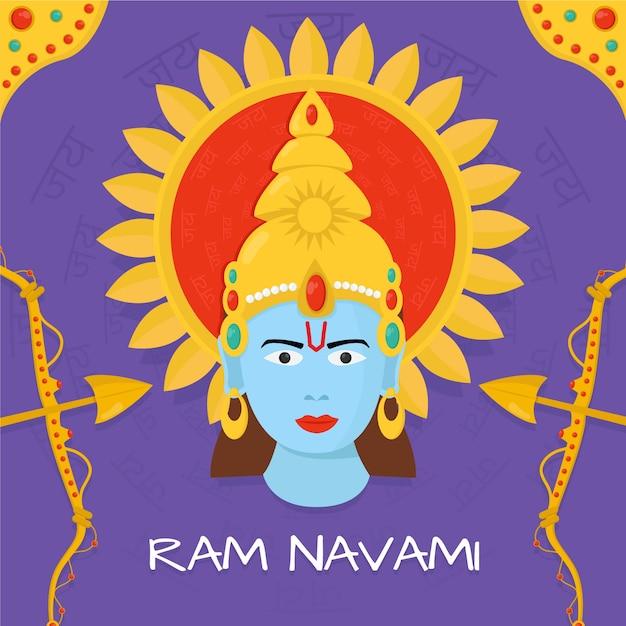 Ram navami com deus hindu Vetor grátis