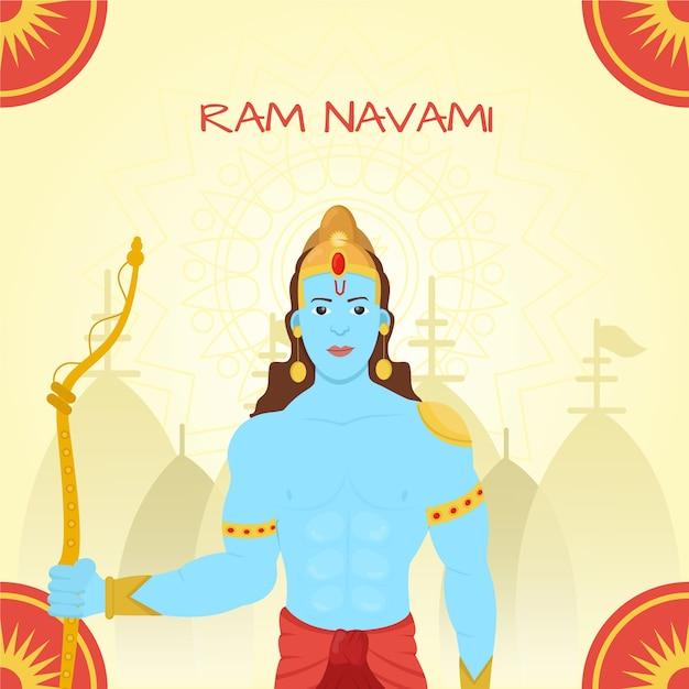 Ram navami em design plano Vetor grátis