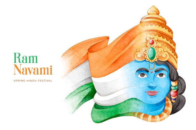 Ram navami festival e bandeira indiana abstrata Vetor grátis