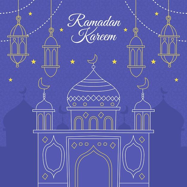 Ramadã de mão desenhada Vetor grátis