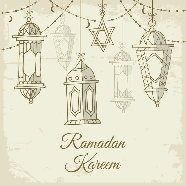 Ramadã de mão desenhada Vetor Premium