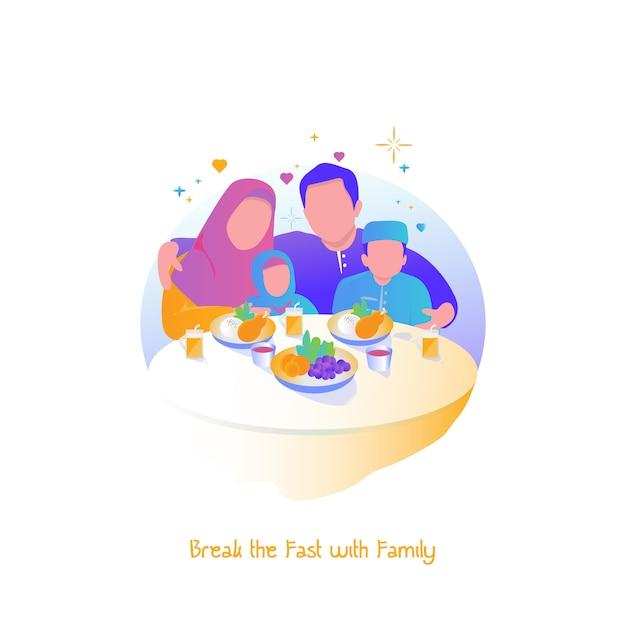 Ramadã ilustração, quebrar o jejum com a família Vetor Premium