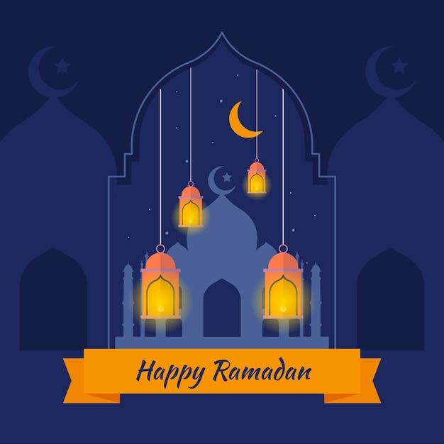 Ramadã plana com lua crescente e lâmpadas Vetor grátis