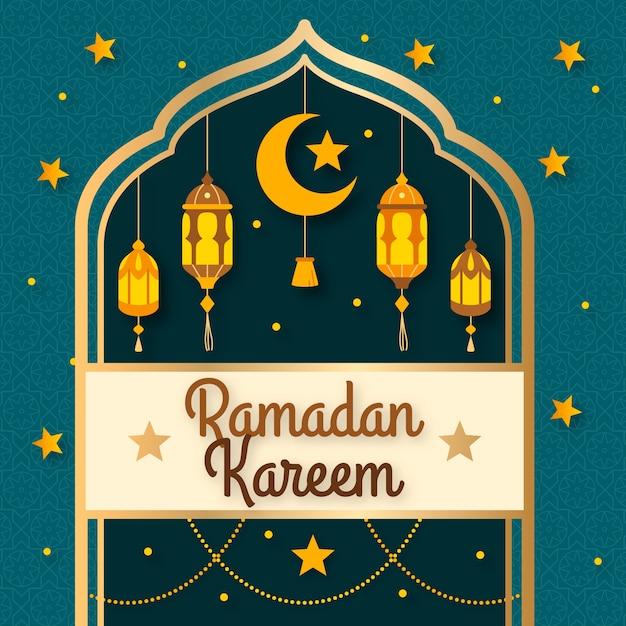 Ramadan design plano com lua crescente Vetor grátis