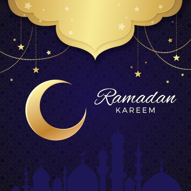 Ramadan design realista com lua crescente Vetor grátis