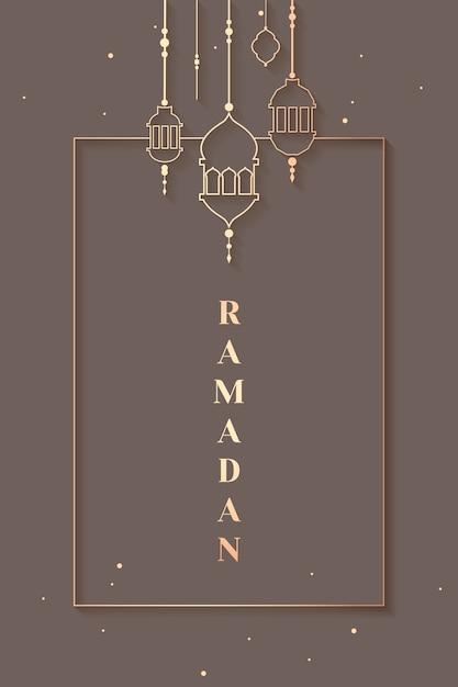 Ramadan framed design de cartão Vetor grátis