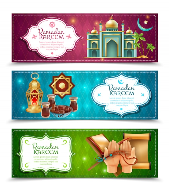 Ramadan kareem 3 banners horizontais conjunto Vetor grátis