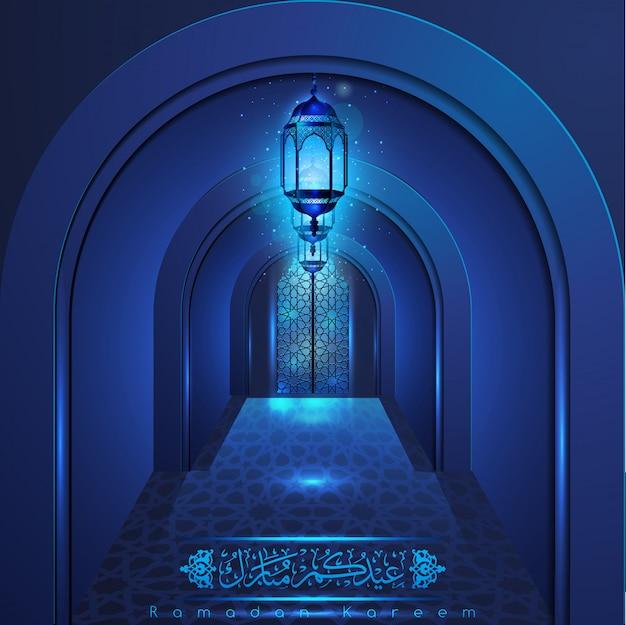 Ramadan kareem bela porta da mesquita com padrão árabe Vetor Premium