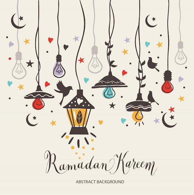 Ramadan Kareem cartão de cumprimentos Vetor grátis
