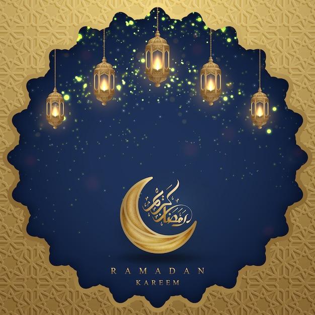 Ramadan kareem com caligrafia árabe, lanternas douradas e lua. Vetor Premium