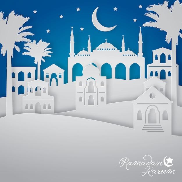 Ramadan kareem com ilustração da opinião da cidade da paisagem árabe Vetor Premium