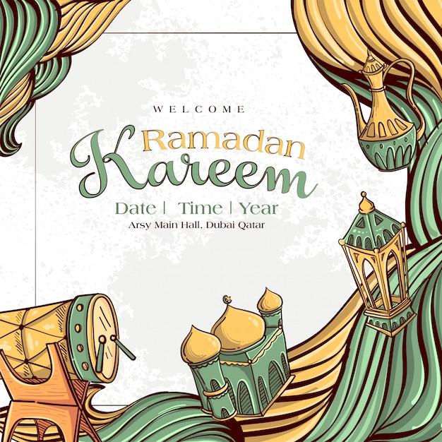 Ramadan kareem com mão desenhado ornamento ilustração islâmica sobre fundo branco grunge Vetor grátis