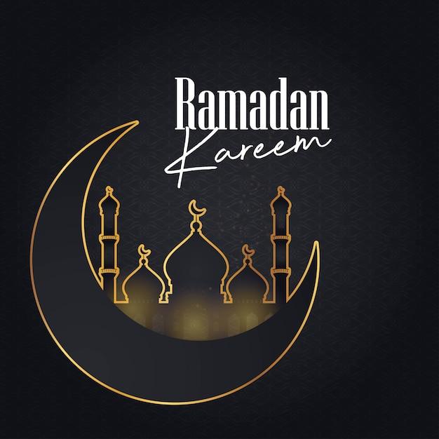 Ramadan kareem cresent moon pattern background Vetor grátis