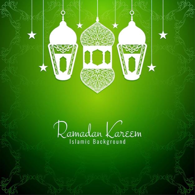 Ramadan kareem decorativo fundo verde religioso Vetor grátis
