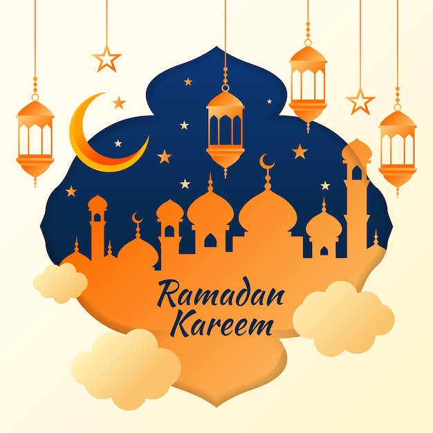 Ramadan kareem evento design plano Vetor Premium