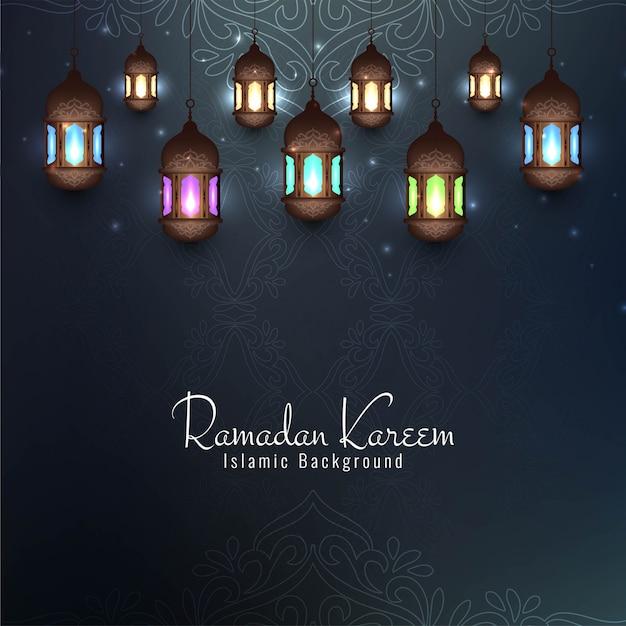 Ramadan kareem festival cartão decorativo com lanternas Vetor grátis
