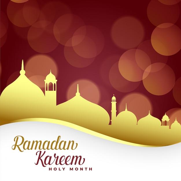 Ramadan kareem fundo com mesquita dourada Vetor grátis
