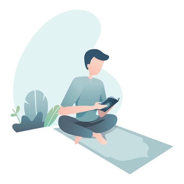 Ramadan kareem illustration with muslim leia o alcorão sagrado Vetor Premium
