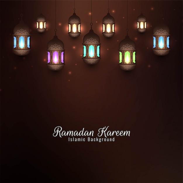 Ramadan kareem islamic com lanternas coloridas Vetor grátis