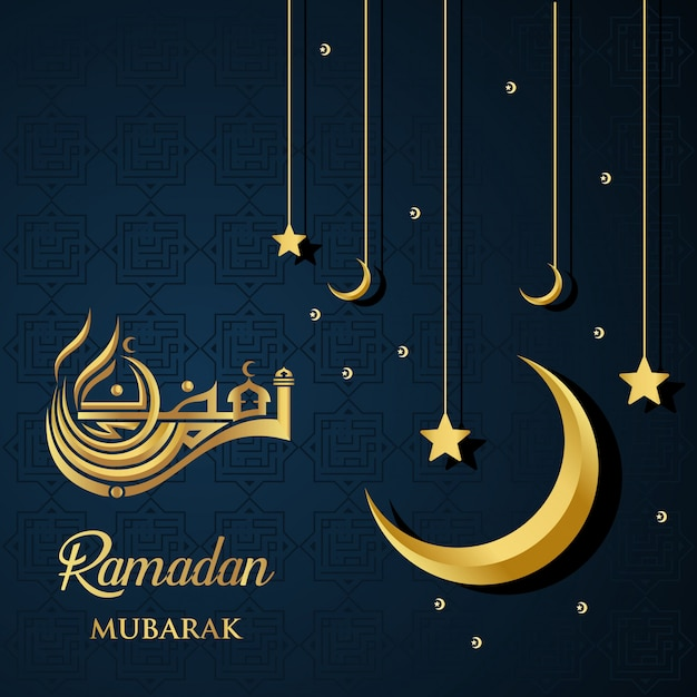 Ramadan kareem islamic design ramadan mubarak caligrafia e mesquita cúpula silhueta Vetor Premium