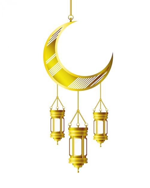 Ramadan kareem lanterna e lua pendurado Vetor Premium