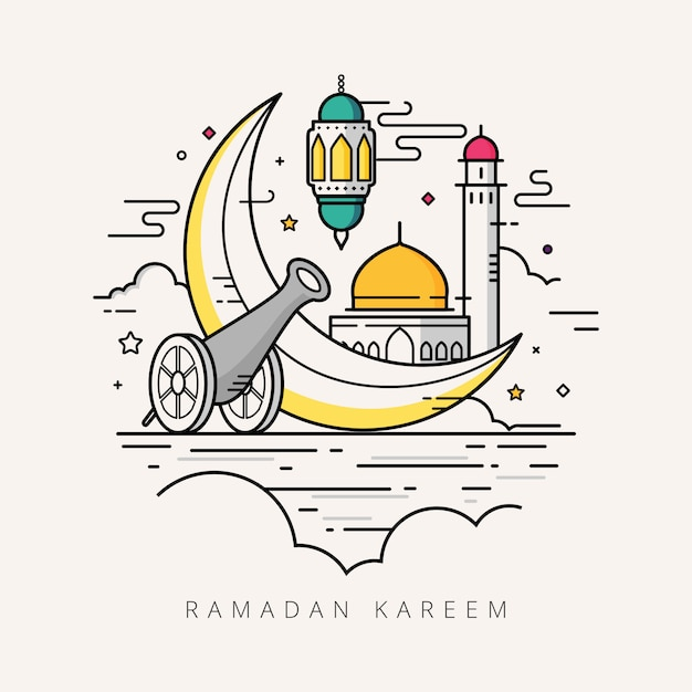 Ramadan kareem linha arte design Vetor Premium