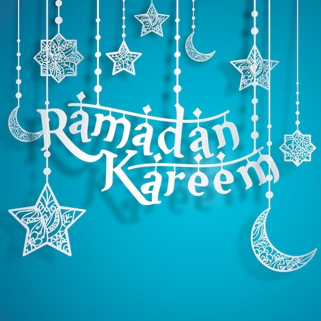 Ramadan kareem papercut estilo com fundo floral estrela crescente islâmica Vetor Premium