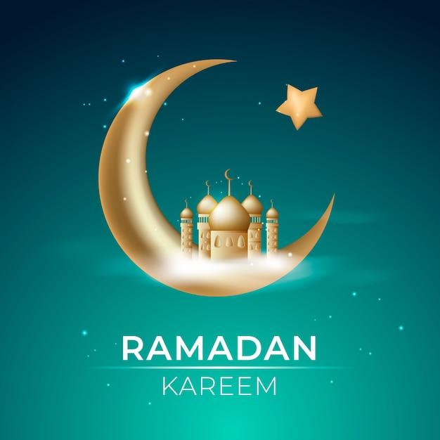 Ramadan kareem realista com cidade e lua Vetor grátis