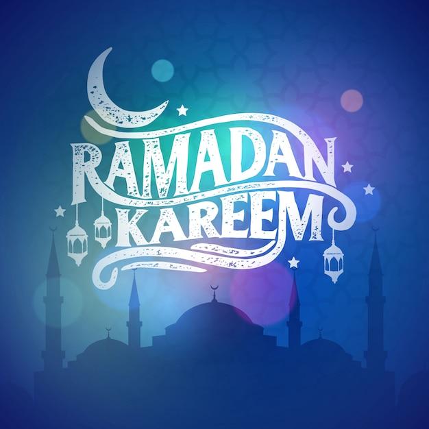Ramadan kareem saudação letras lindas Vetor Premium