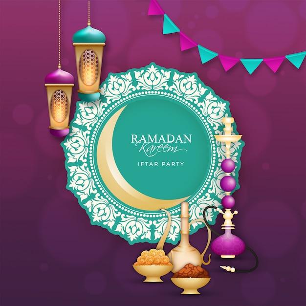 Ramadan mubarak, conceito do partido de iftar. Vetor Premium