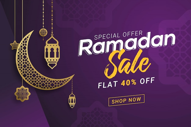 Ramadan sale banner design de modelo de fundo Vetor Premium