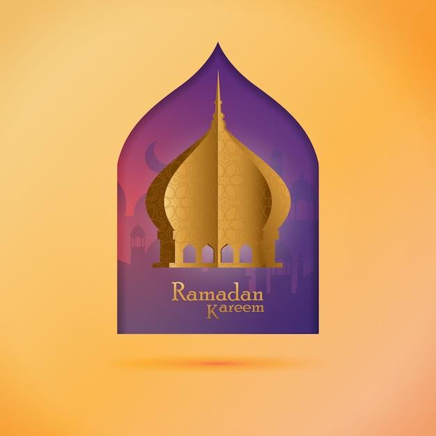 Ramadan saudação post - ramadan kareem com mesquita dourada Vetor Premium