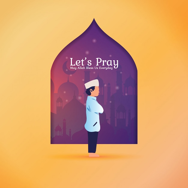 Ramadan saudação post - vamos orar por muçulmano Vetor Premium