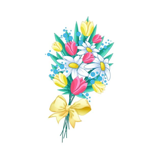 Ramalhete bonito da mola das flores com uma curva amarela. Vetor Premium